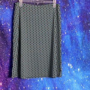 Ann Taylor- Blue & Brown Skirt w/ Elastic Waist M